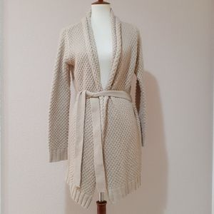Forever 21 tan knit cardigan with tie belt